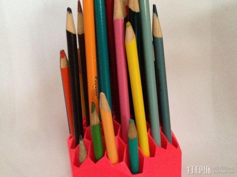 蜂巢形笔筒 3D打印模型渲染图