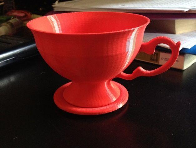 茶碗茶托 3D打印模型渲染图