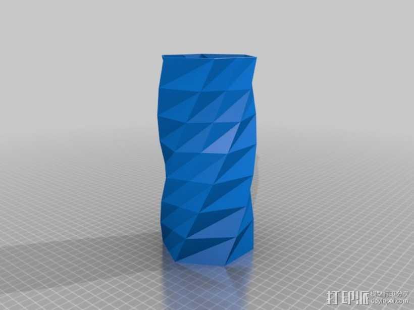 扭曲的中空花瓶 3D打印模型渲染图