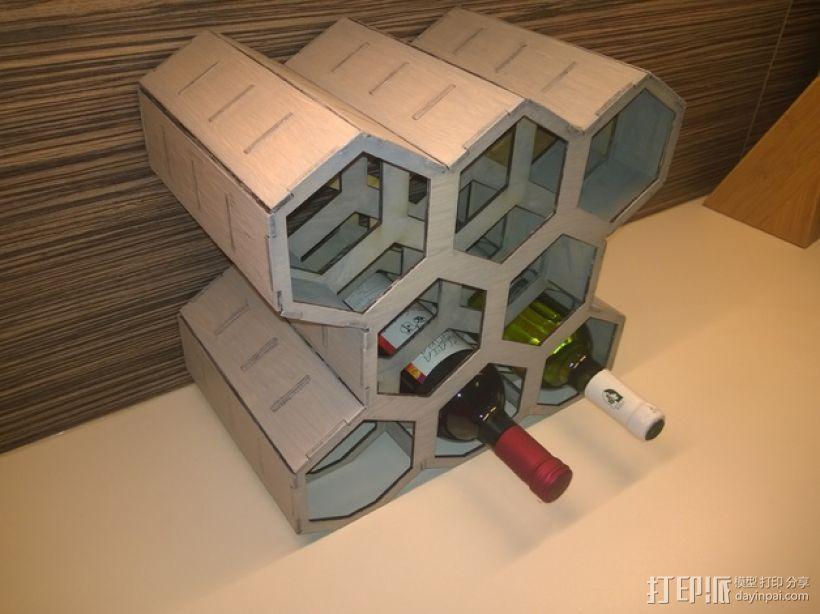 六边形红酒架 3D打印模型渲染图
