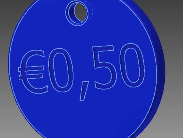 50欧元 钥匙扣 3D打印模型渲染图