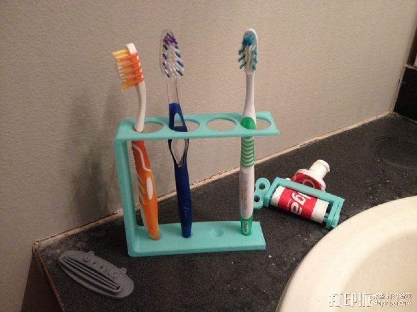 四孔牙刷架 3D打印模型渲染图