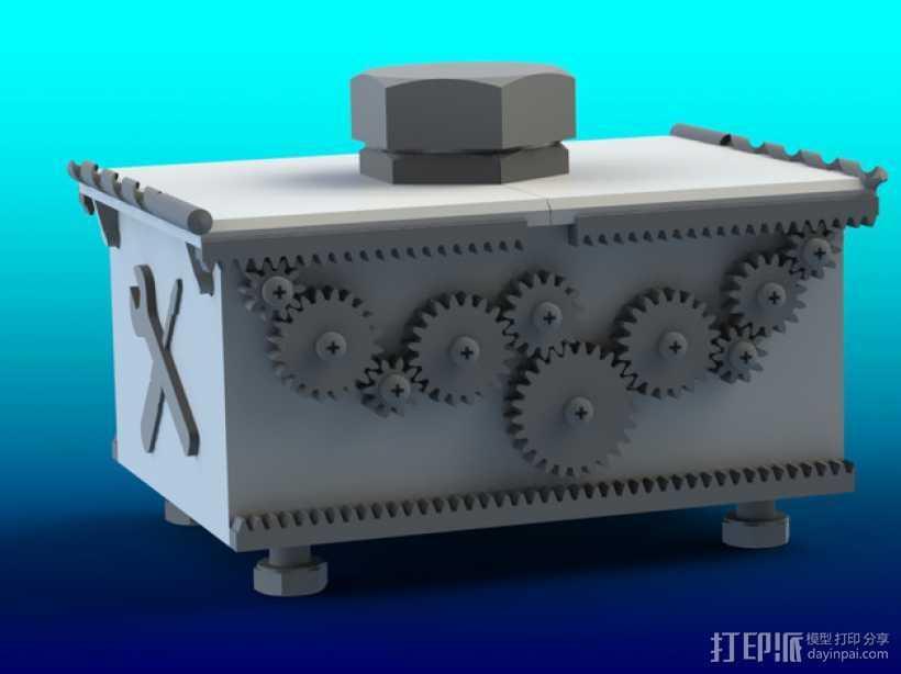 变速齿轮箱 3D打印模型渲染图