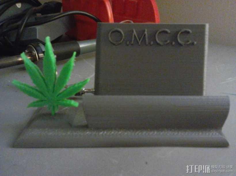 医用大麻叶 名片架 3D打印模型渲染图