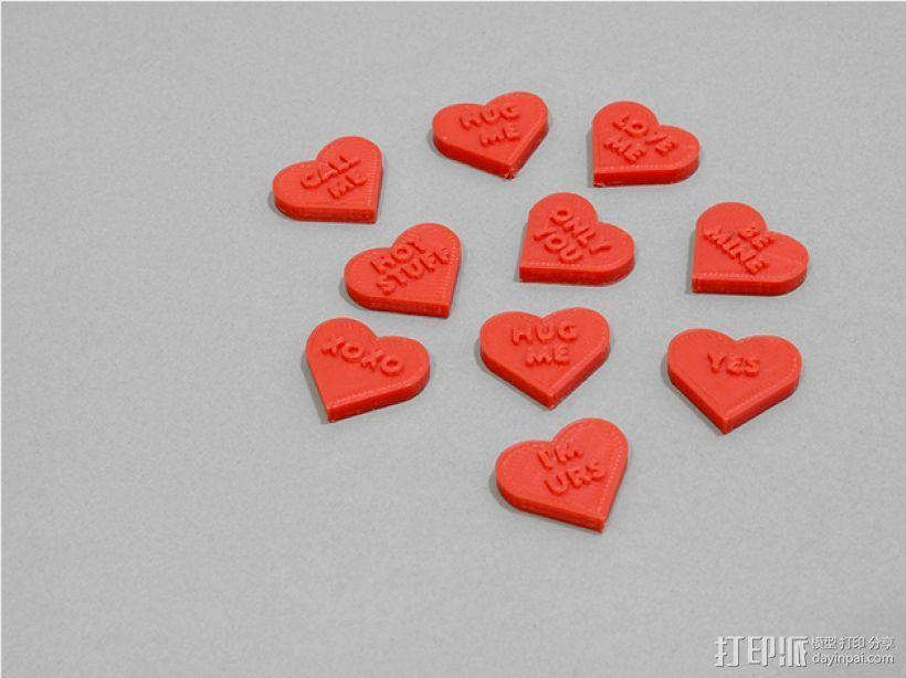 个性化心形装饰品 3D打印模型渲染图