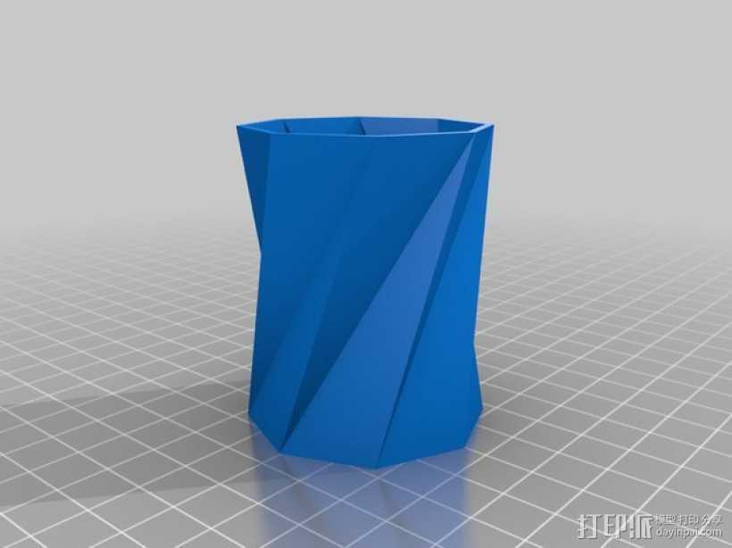 螺旋八边形水杯 3D打印模型渲染图