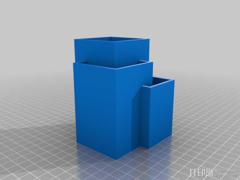 多层方形笔筒 3D打印模型渲染图