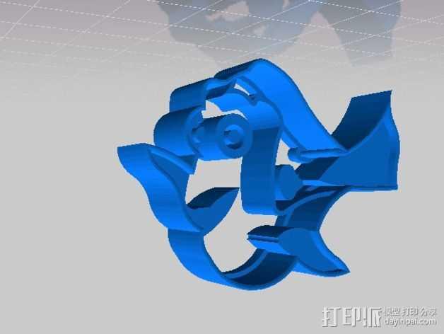 月亮鱼 饼干制作模具 3D打印模型渲染图