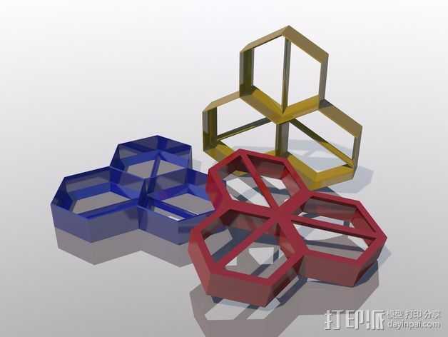 多边形 饼干制作模具 3D打印模型渲染图
