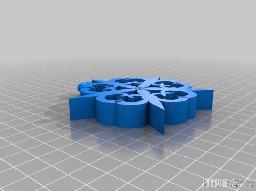鸢尾雪花 3D打印模型渲染图
