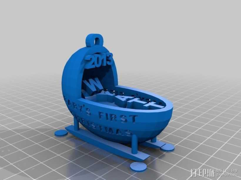 婴儿摇篮装饰品 3D打印模型渲染图