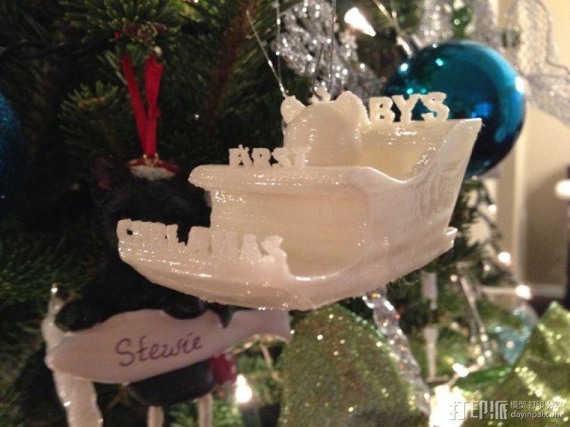 雪橇形圣诞装饰品 3D打印模型渲染图