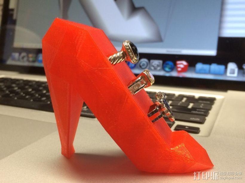 高跟鞋形戒指架 3D打印模型渲染图