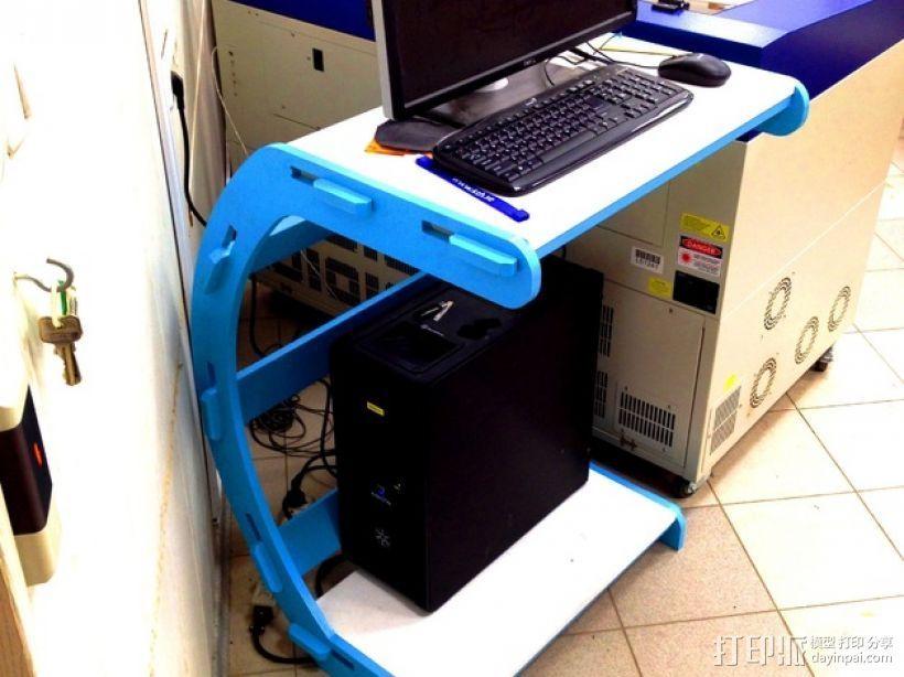 C字形电脑桌 3D打印模型渲染图