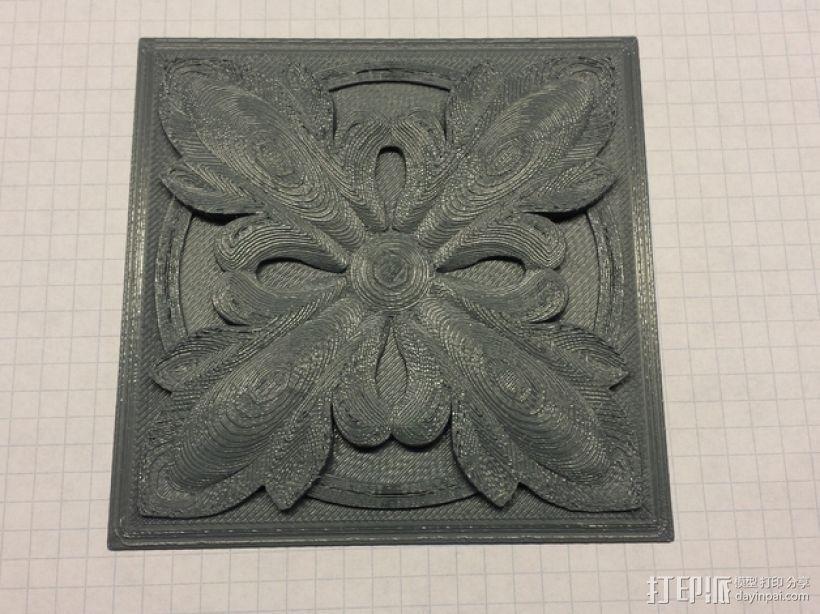 plitka方形装饰品 3D打印模型渲染图