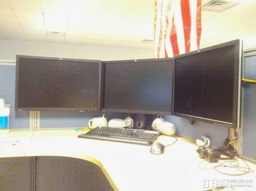 办公室隔间 多台显示器接口 3D打印模型渲染图