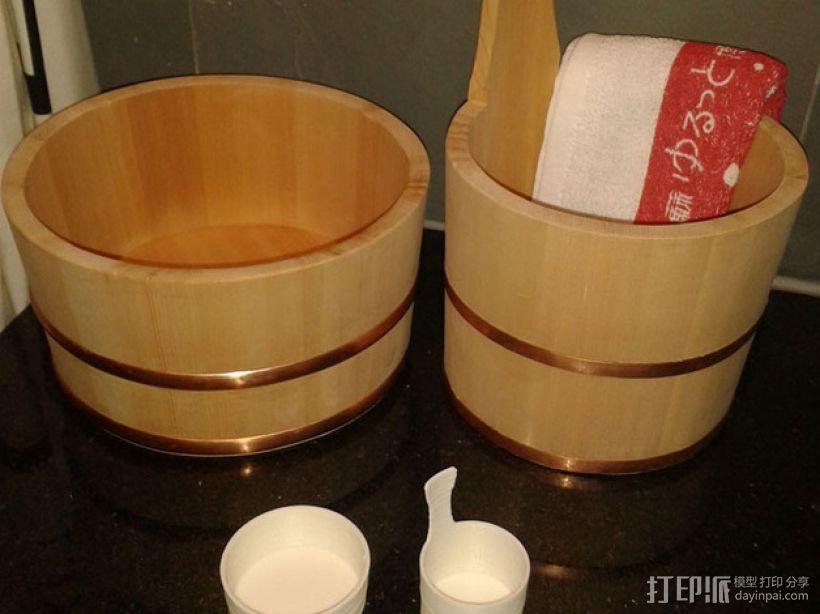 迷你日本温泉桶 3D打印模型渲染图