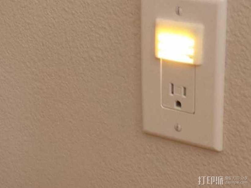 带LED灯的插座面板 3D打印模型渲染图