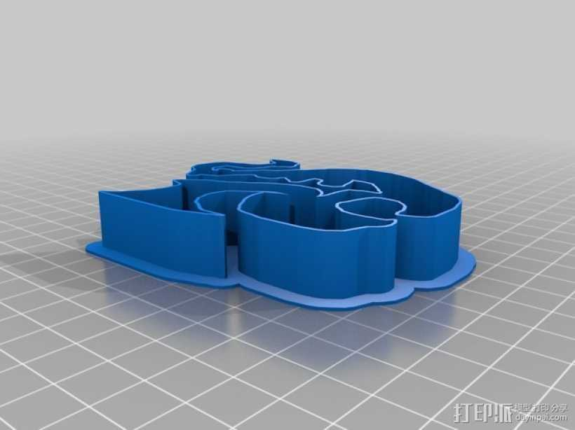 龙饼干模具 3D打印模型渲染图