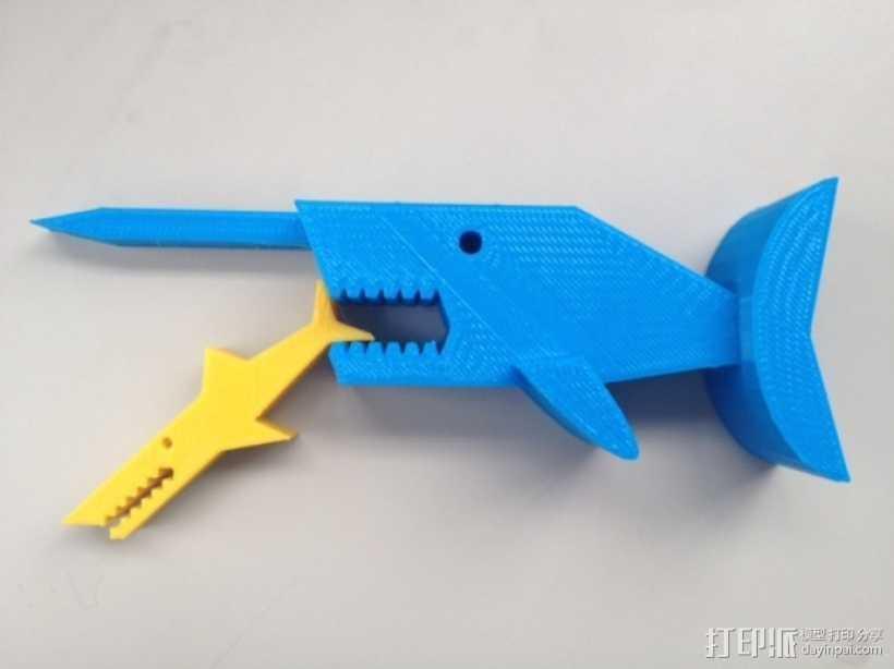 独角鲸鱼夹 3D打印模型渲染图