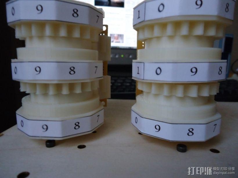 三位数机电计数器 3D打印模型渲染图