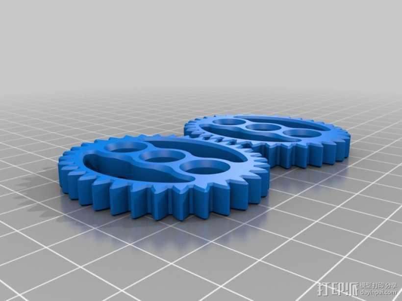 椭圆形齿轮组 3D打印模型渲染图