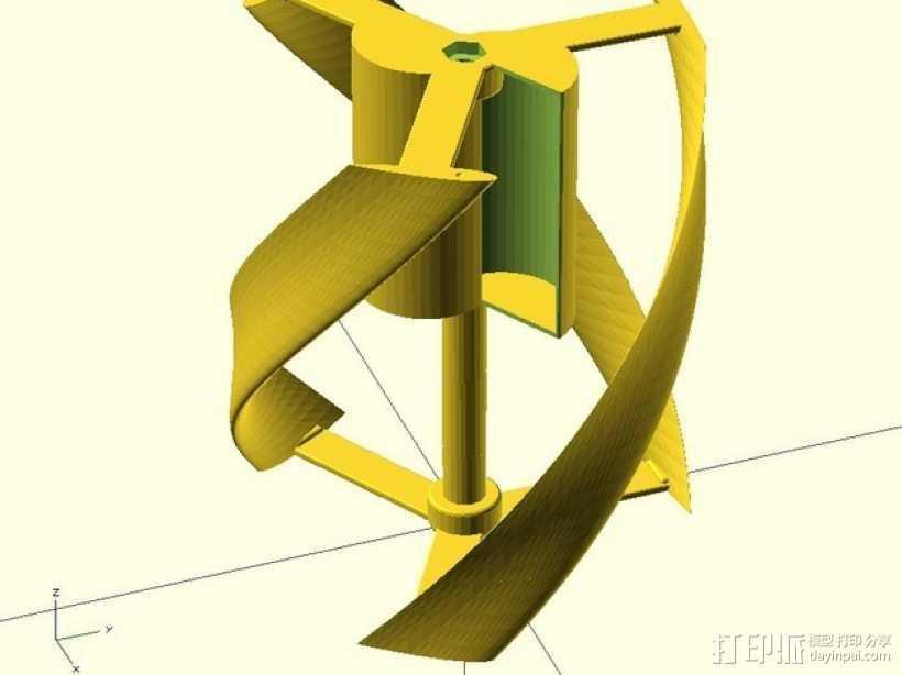 螺旋叶片风车 3D打印模型渲染图