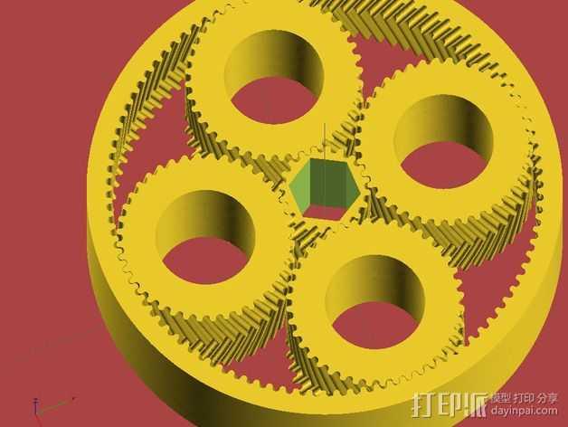 行星齿轮 3D打印模型渲染图
