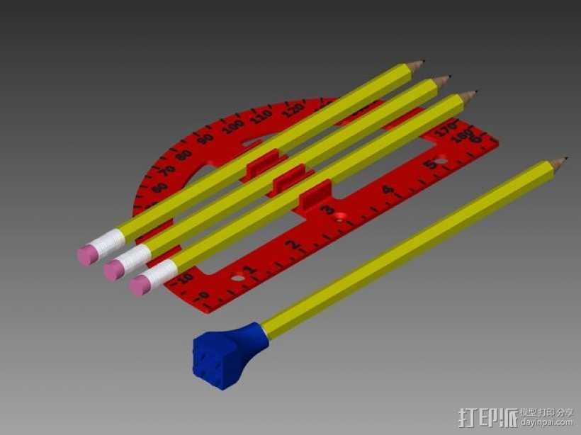 量角器 3D打印模型渲染图