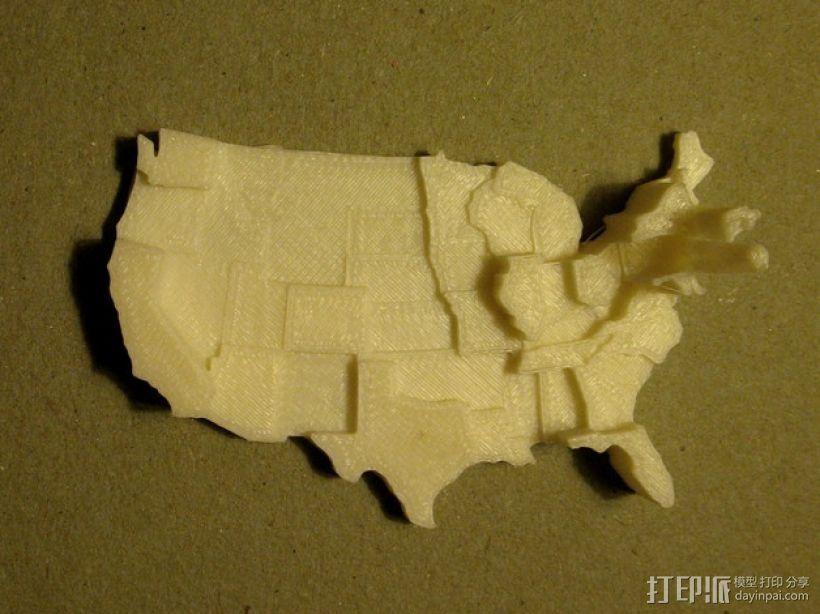 美国地图  棱柱地图 3D打印模型渲染图