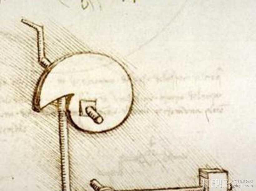 达芬奇的凸轮锤 3D打印模型渲染图