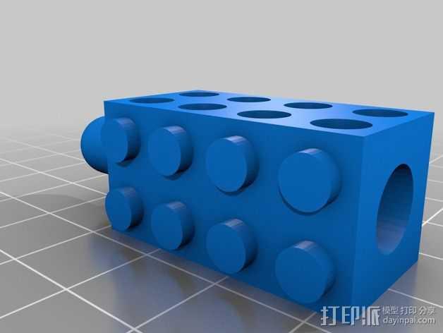 乐高积木铅笔套 3D打印模型渲染图