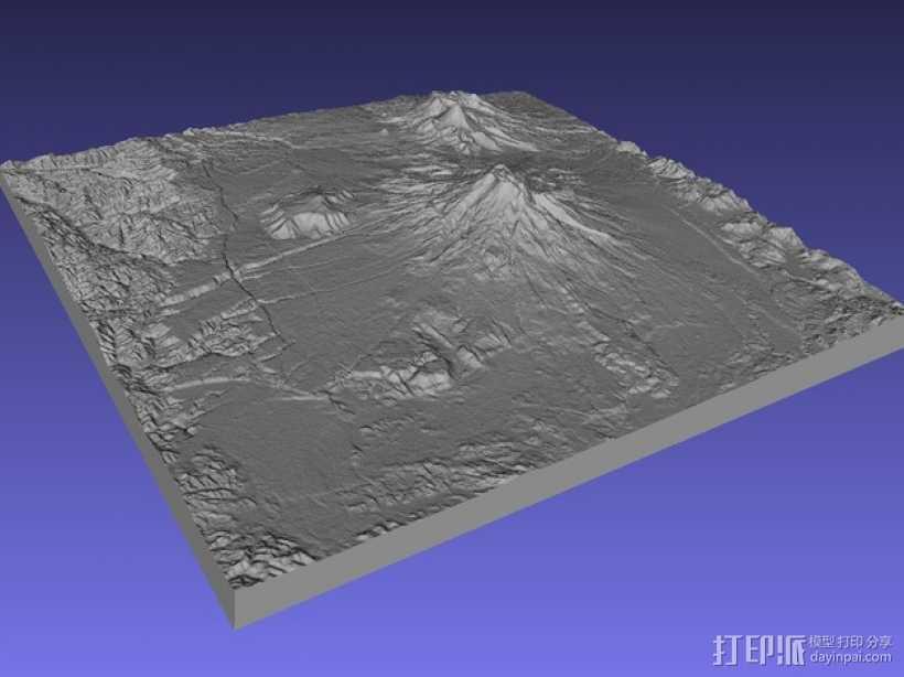 鲁阿佩胡火山 地图模型 3D打印模型渲染图