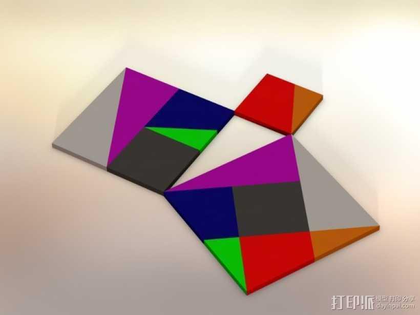 勾股定理七巧板 3D打印模型渲染图