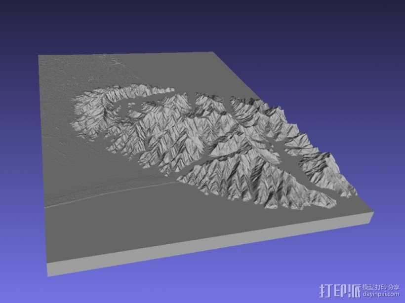 基督城地区地形图 3D打印模型渲染图