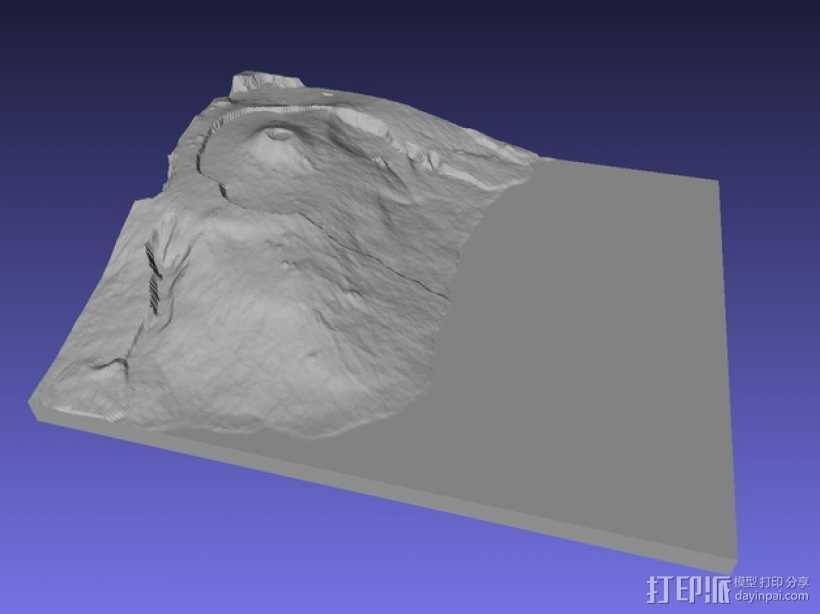 弗尔乃斯火山地形图 3D打印模型渲染图