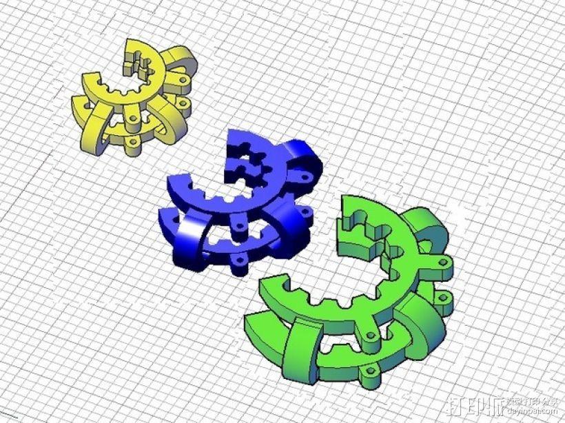 磨砂玻璃夹 3D打印模型渲染图