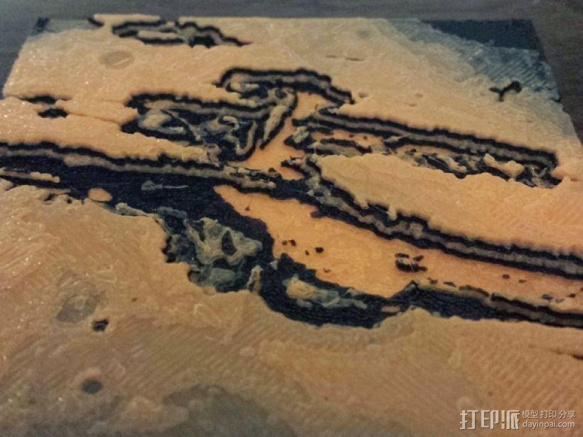 山谷地形图模型 3D打印模型渲染图