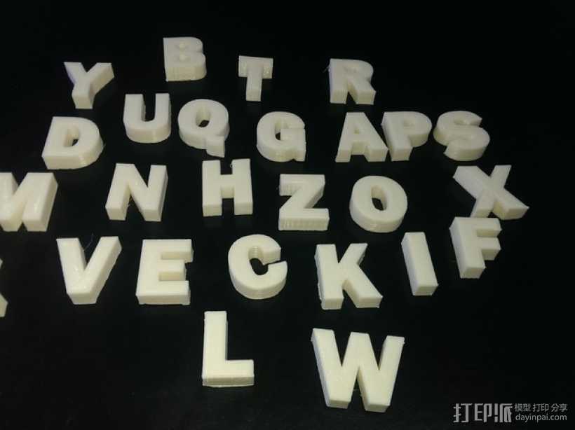 英文字母 字母块 3D打印模型渲染图