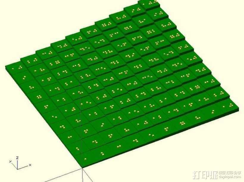 盲文板乘法表 3D打印模型渲染图