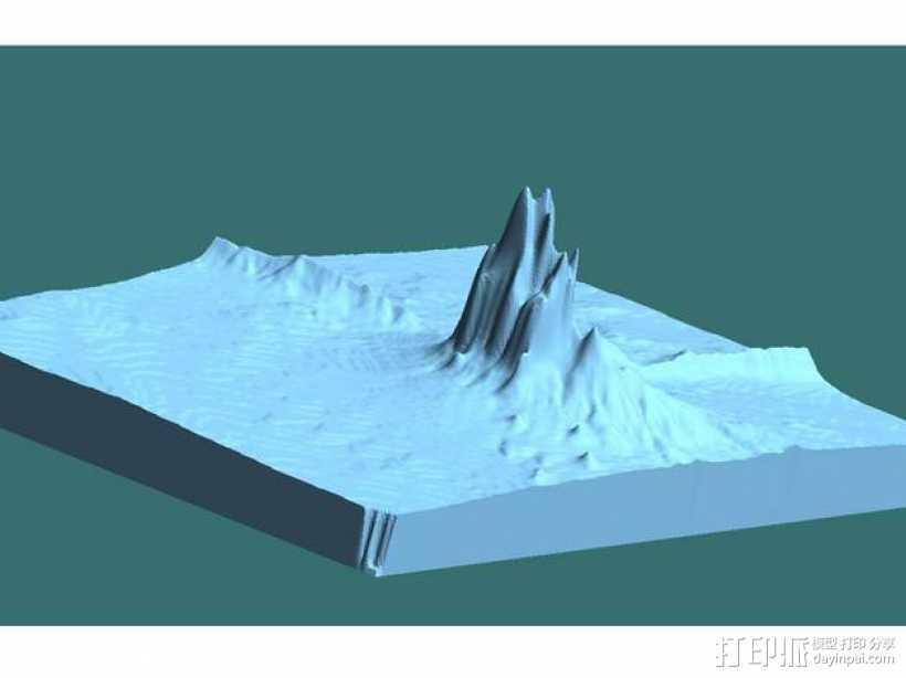 Shiprock火山塞地形图模型 3D打印模型渲染图