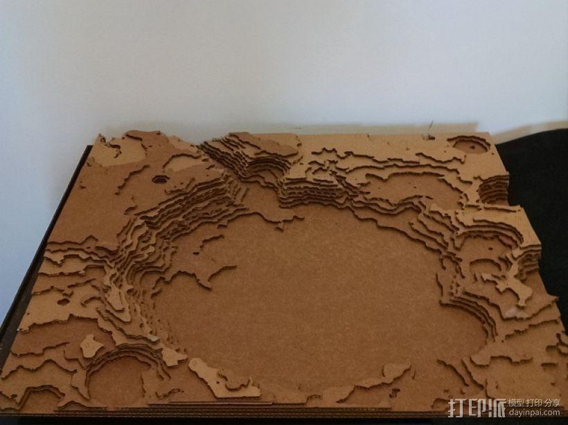 古谢夫环形山 陨石坑模型 3D打印模型渲染图