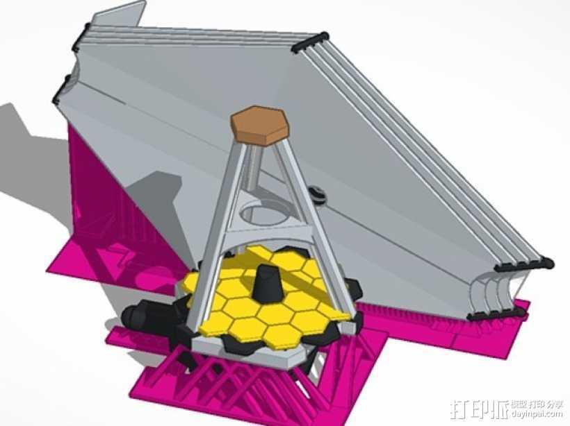 詹姆斯·韦伯太空望远镜  3D打印模型渲染图