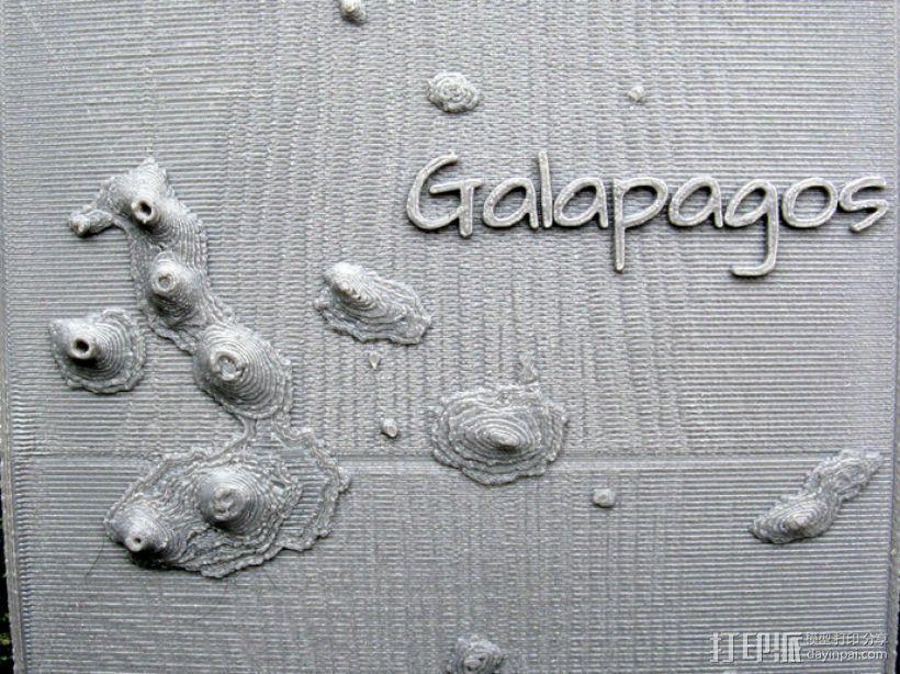 加拉帕戈斯群岛 火山 地形图模型 3D打印模型渲染图