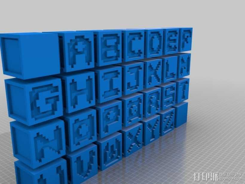英文字母表 字母方块 3D打印模型渲染图