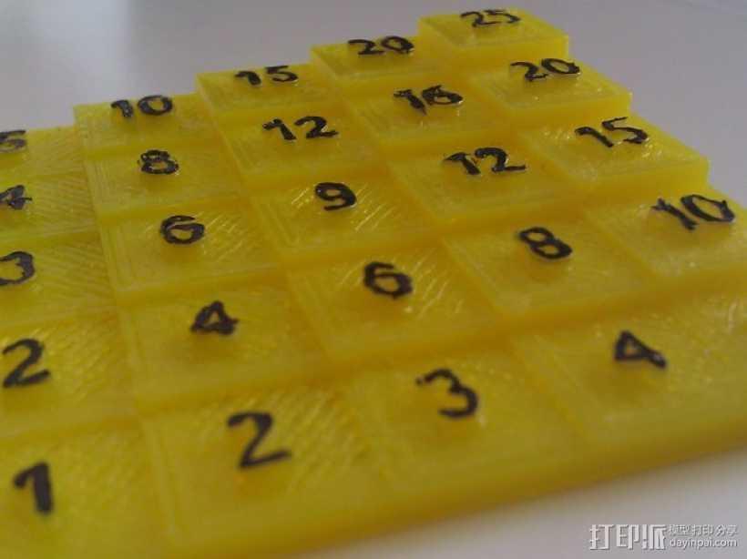 5x5乘法表 3D打印模型渲染图