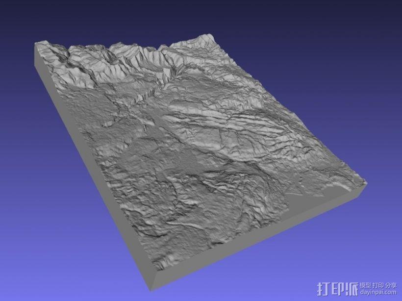 黄石公园地形图模型 3D打印模型渲染图