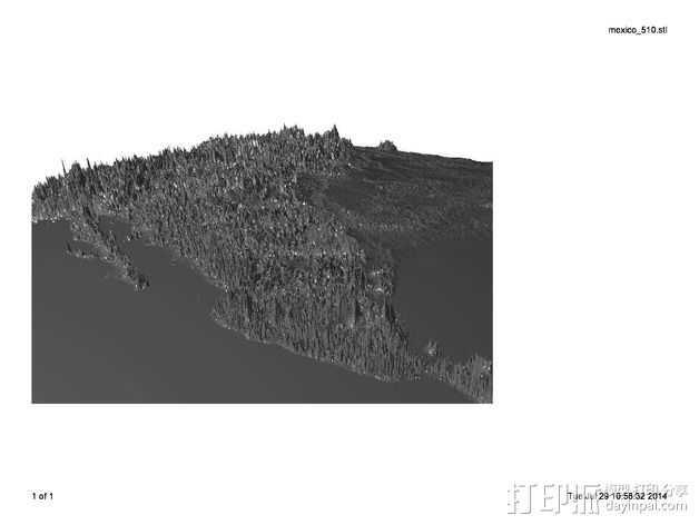 墨西哥地形图 3D打印模型渲染图