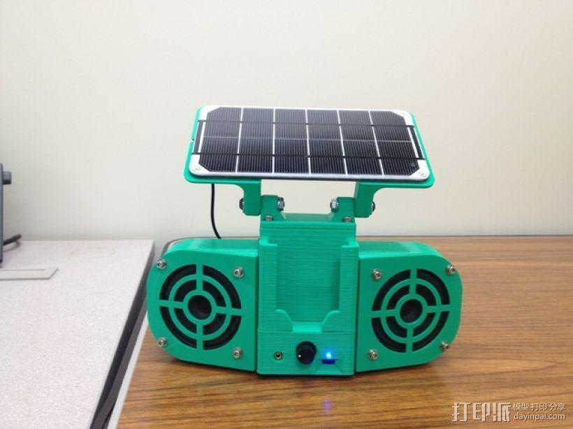 太阳能立体声音响 3D打印模型渲染图