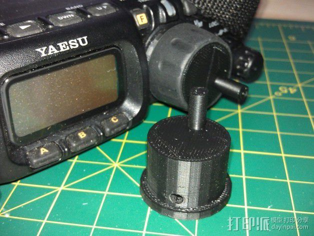 参数化FT-817收音机旋转把手 3D打印模型渲染图